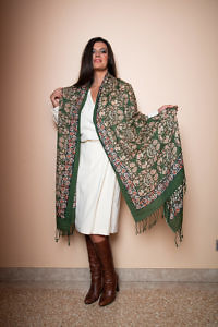 green wool and silk pashmina | exclusive accessories