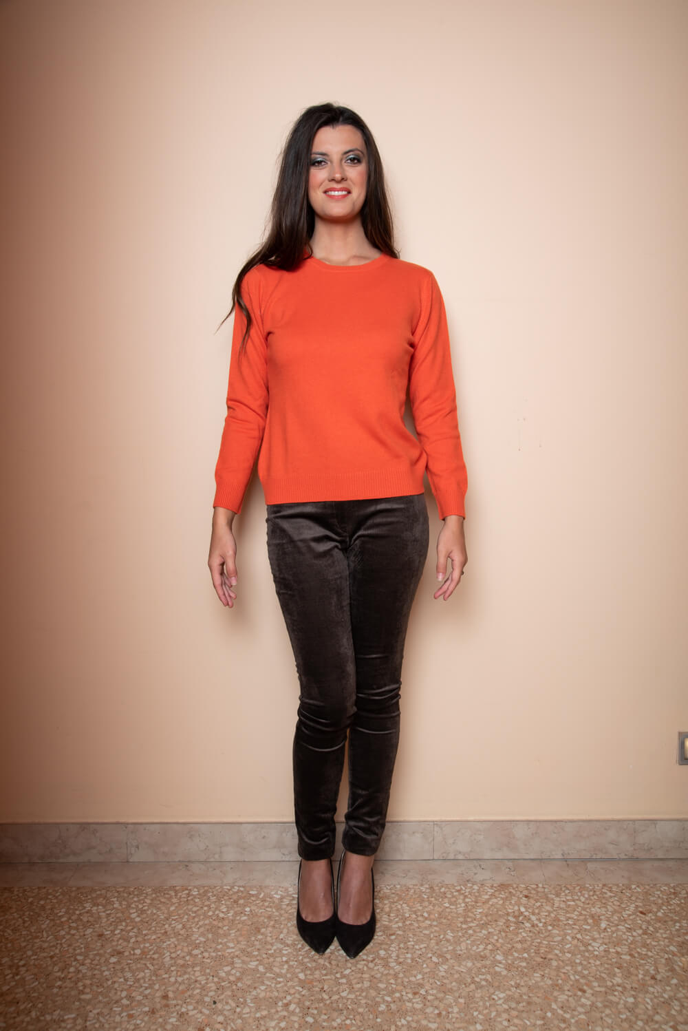 orange cashmere top | high quality cashmere top