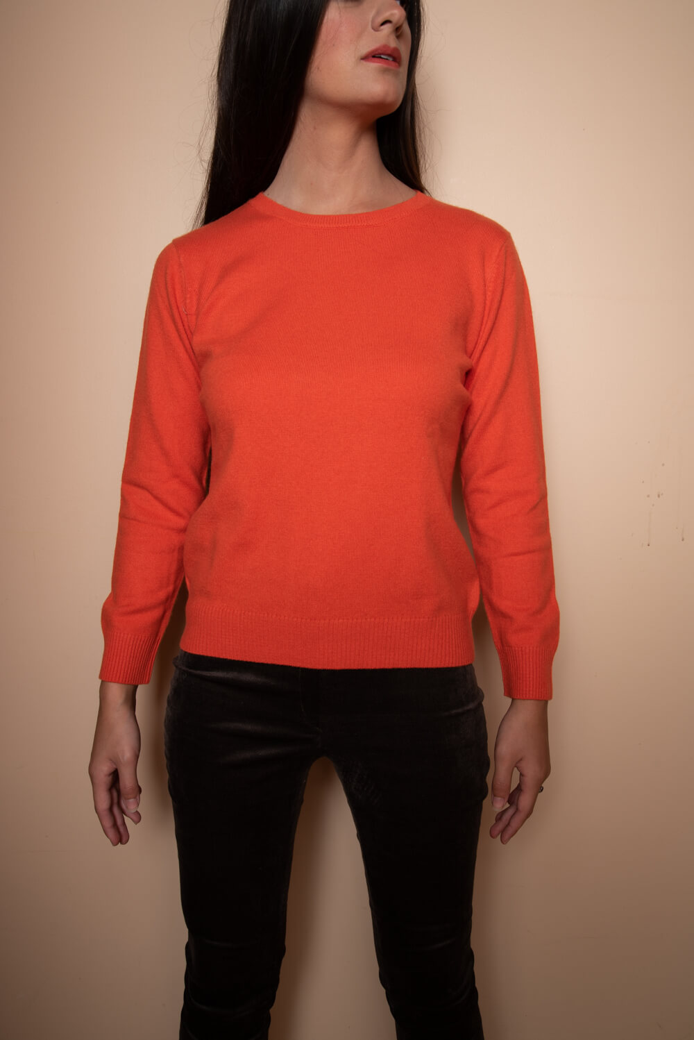 orange cashmere jumper | fine knitwear