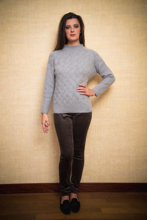warmer grauer Kaschmirpullover | Luxus-Pullover