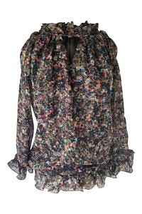 floral printed brown silk chiffon blouse REGINA
