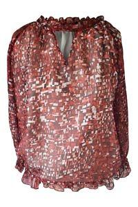 rote Chiffonbluse mit Pixel-Druck | rote Seidenbluse |  ASITA SAHABI