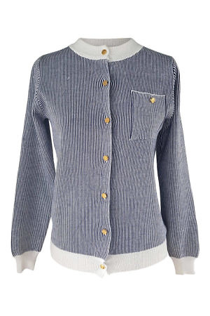 mink cashmere cardigan with blue and white stripes
