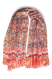 silk scarf with paisley print in white, orange and turquoise