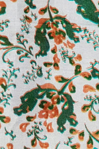 silk scarf PINEROLO with paisley print in orange, white and green