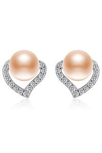 zirconia earrings with nude pearls | 925 silver