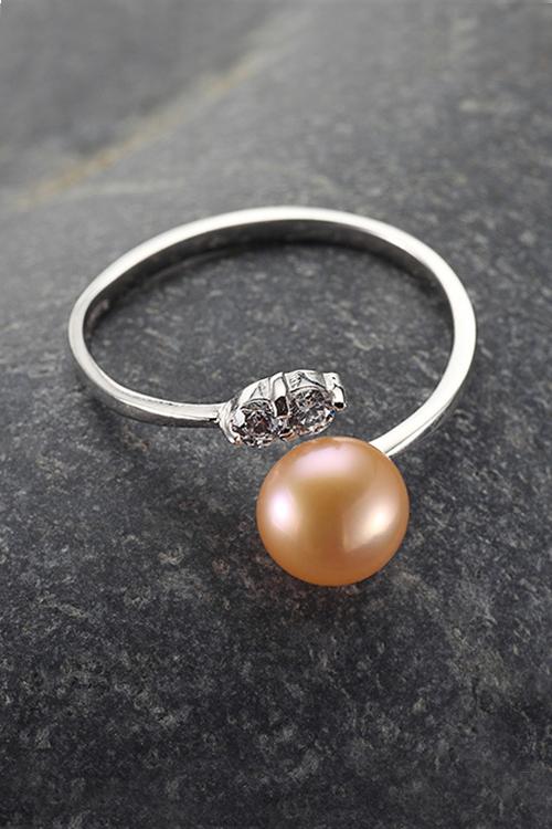 zirconia ring ETERNITÀ with nude pearl | 925 silver