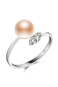 zirconia ring with nude pearl | 925 silver