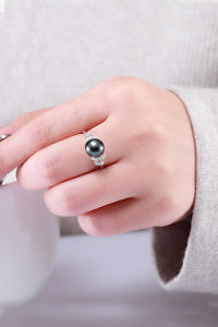 zirconia ring with black pearl | 925 silver | gift