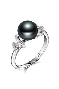 zirconia ring with black pearl | 925 silver | engagement ring