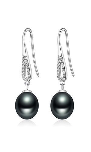 zirconia earrings with black pearls | 925 sterling silver