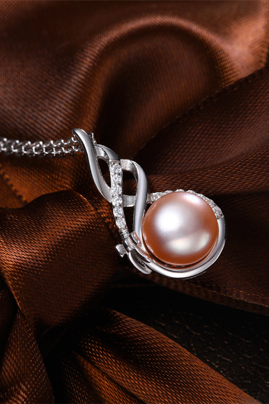 zirconia necklace with rosé pearl in 925 silver