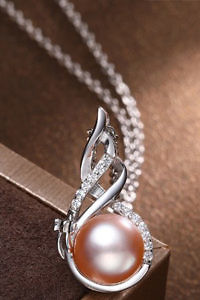 zirconia necklace with beige pearl in 925 silver
