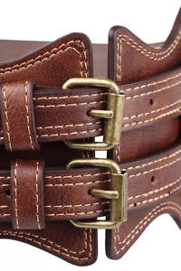 equestrian style waist belt in brown leather