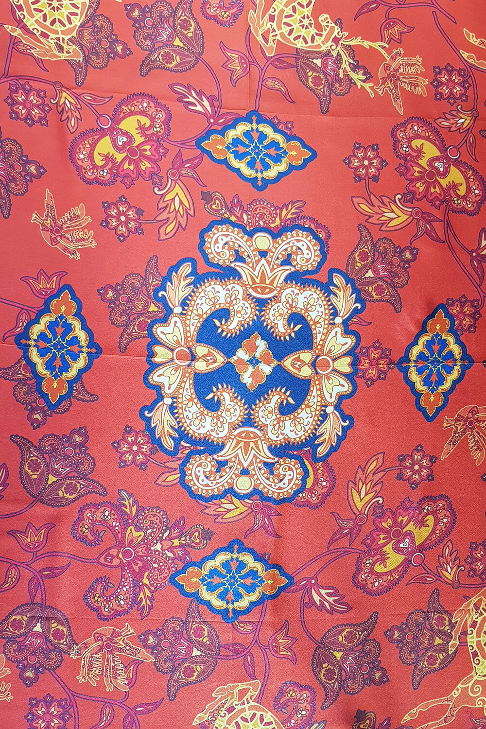 silk scarf in orange and blue