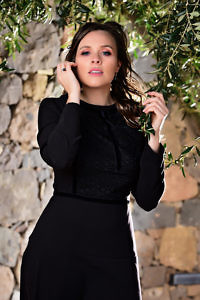 A-line dress in black crêpe and lace | ASITA SAHABI