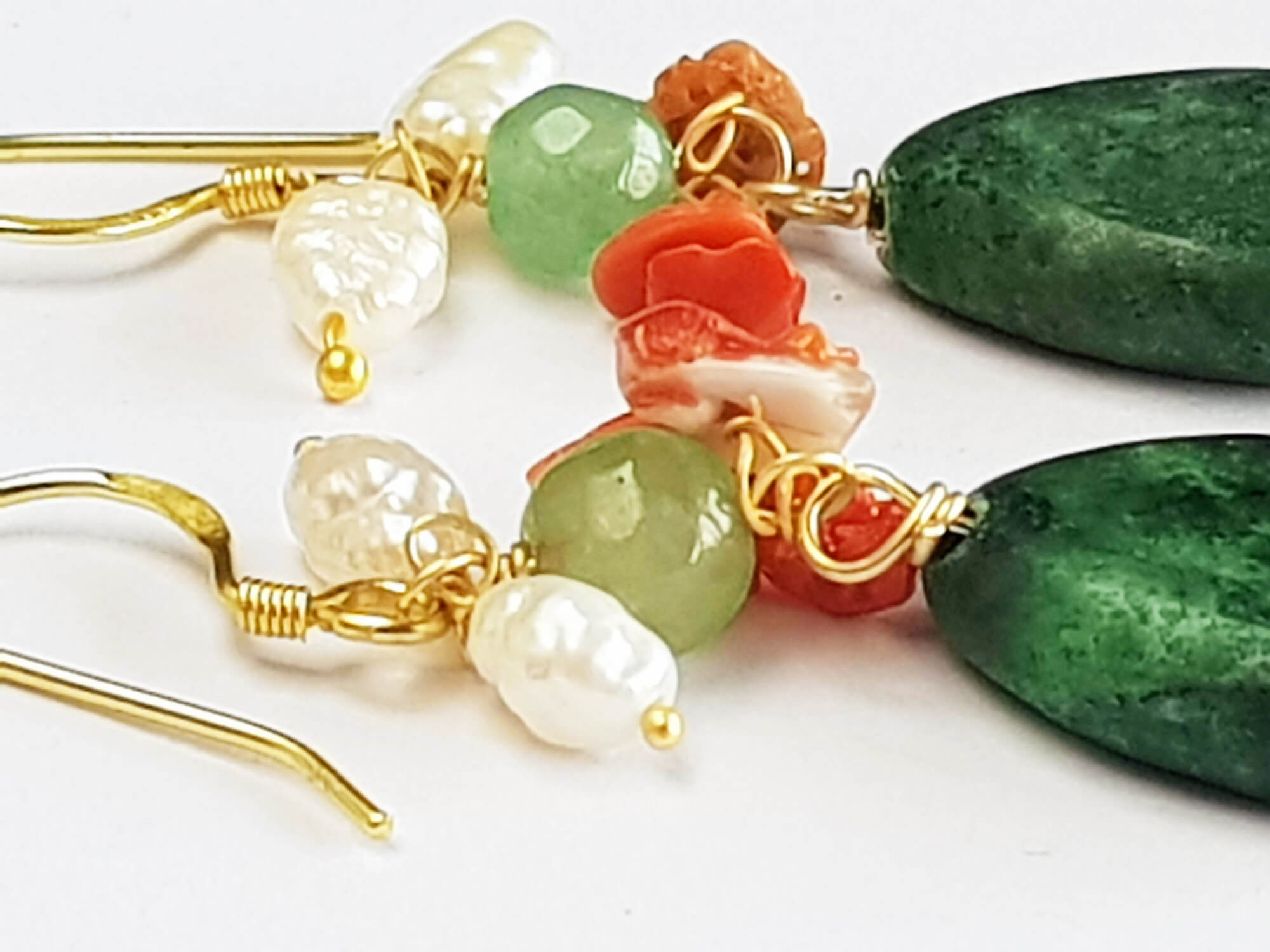 earrings with malachite. corals and pearls