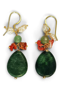 pendants with malachite. corals and pearls