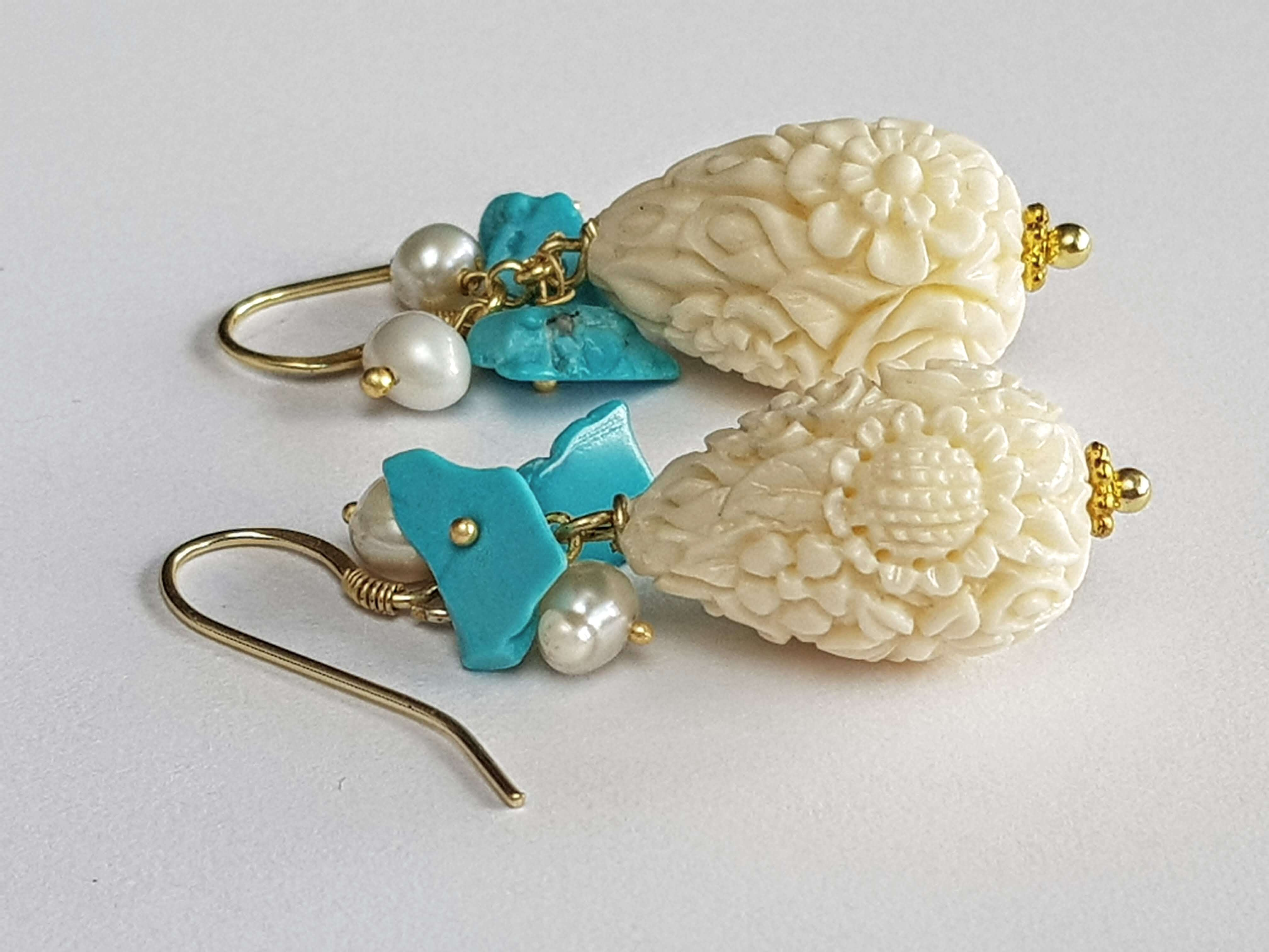 ecru and turquoise earrings | resort accessories
