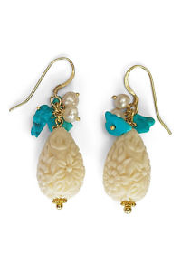 ivory pendant earrings with carved bone, turquoise and pearls