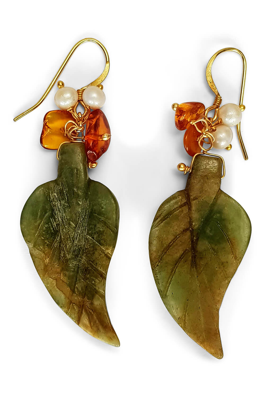 resin earrings in green and orange leave design