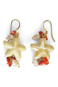 earrings with sea stars, corals and pearls | jewelry