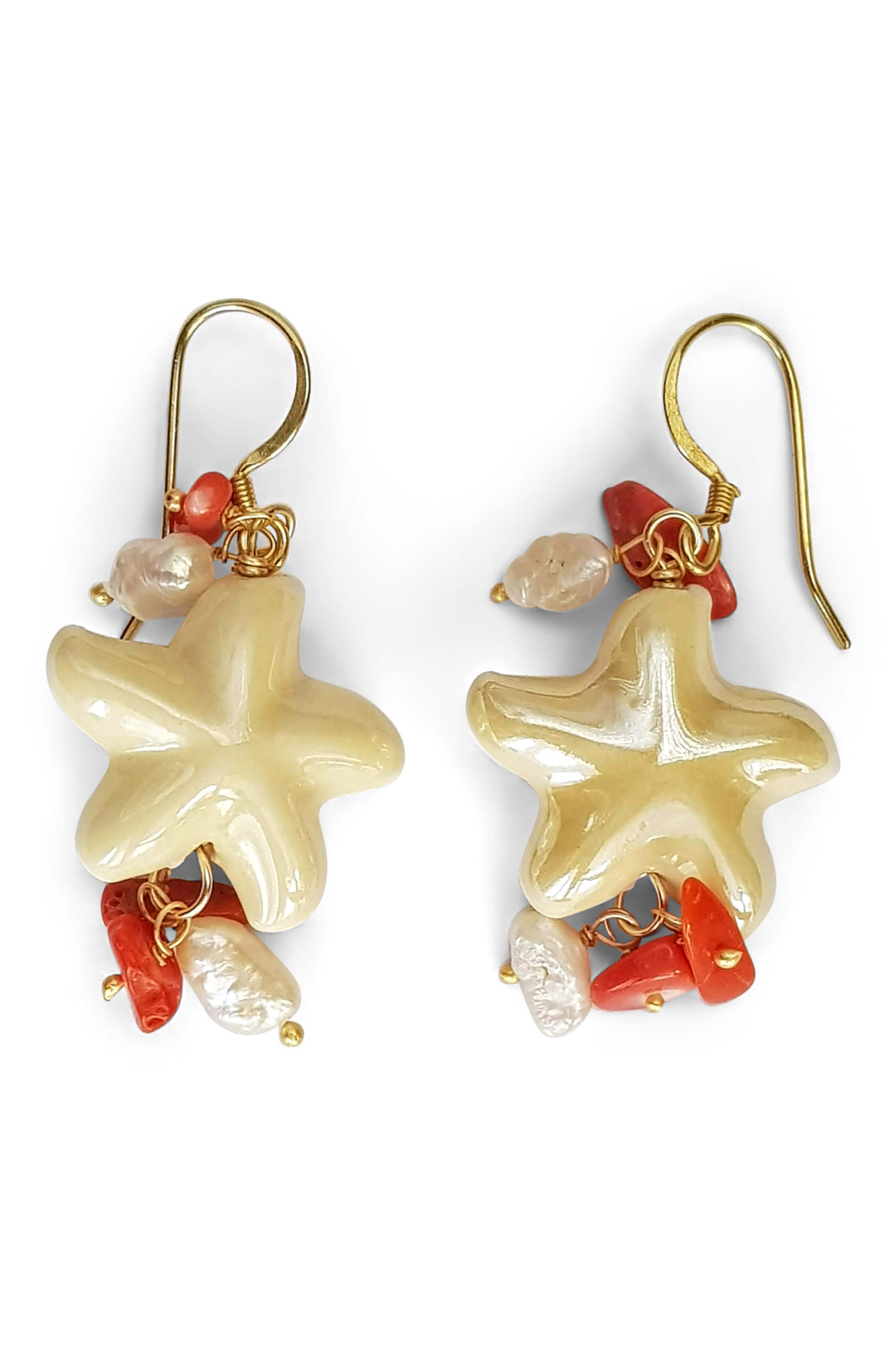 earrings with vanilla colored porcelain sea stars, corals and pearls CAPRI
