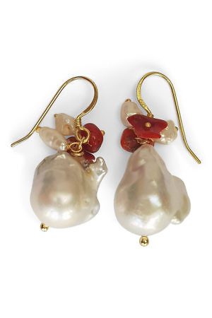 earrings with corals and pearls | resort jewelry