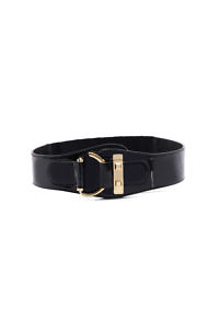 equestrian style waist belt in black leather