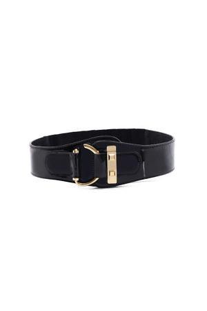 equestrian style waist belt in black leather