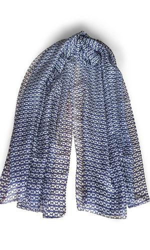 blue and white silk scarf PANAREA | silk foulard