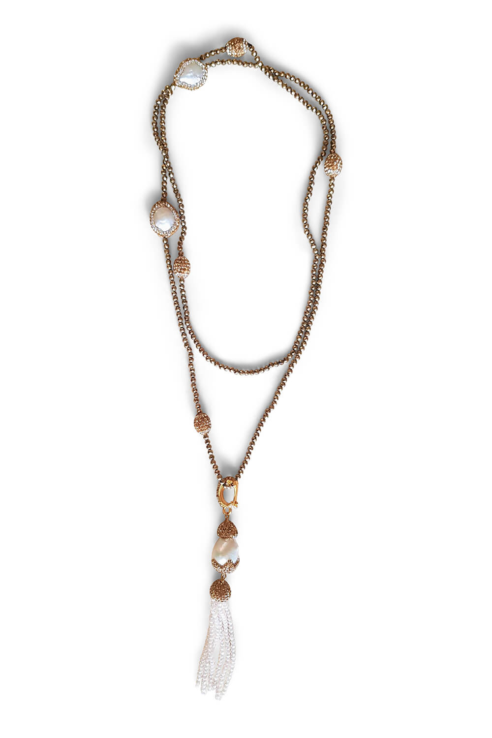 golden beaded necklace with natural freshwater pearls