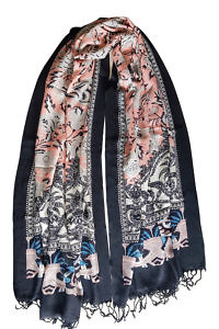black and nude floral printed pashmina | pashmina online shop