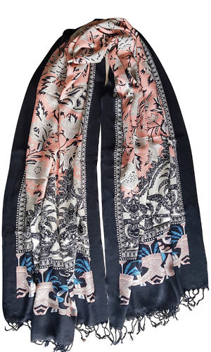 black and nude floral printed pashmina | pashmina online shop