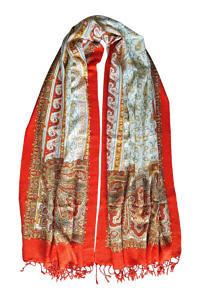 Paisly wool Foulard | orange pashmina | ASITA SAHABI