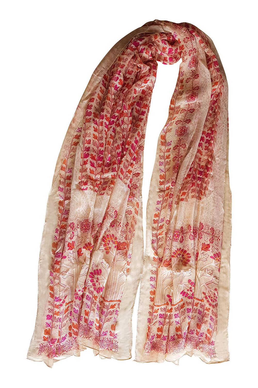 orange and beige printed silk scarf | bohemian womenswear