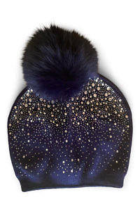 blue wool beanie with rhinestones and fur | ASITA SAHABI