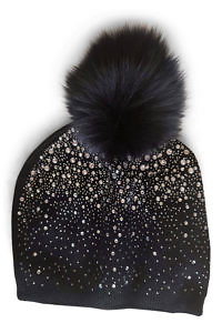 black wool beanie with rhinestones and fur | ASITA SAHABI