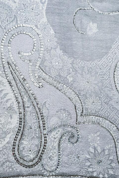 luxury grey pashmina MILANO with paisley print