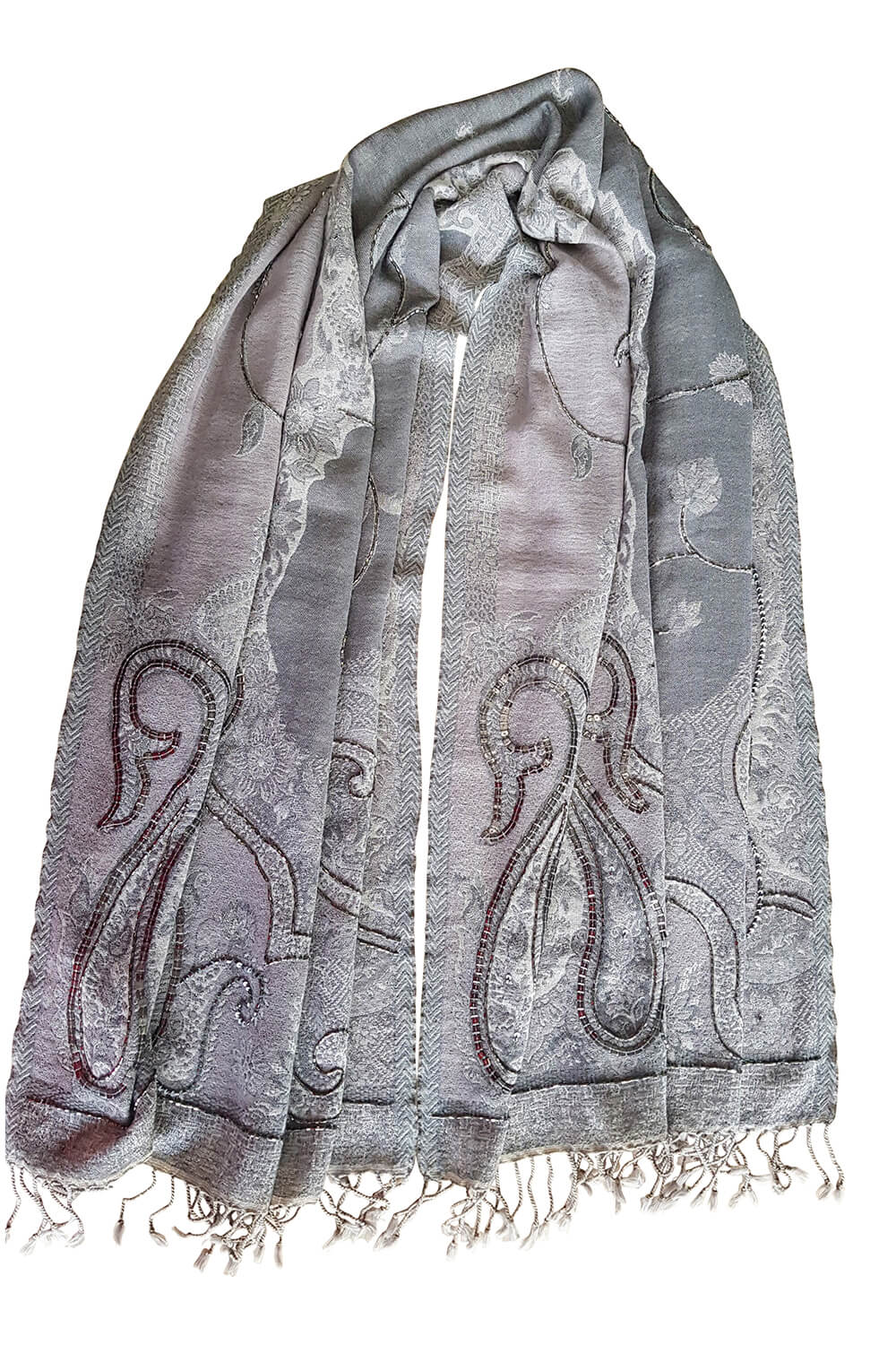 wool pashmina with paisley print grey and mauve