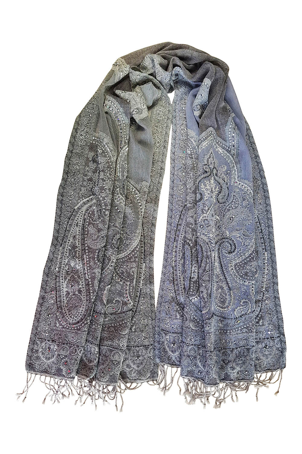 wool pashmina with paisley print in grey, mauve and beige