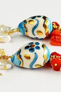 gold and turquoise earrings with corals and pearls