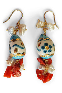 earrings with gold and turquoise painted eggs, corals and pearls