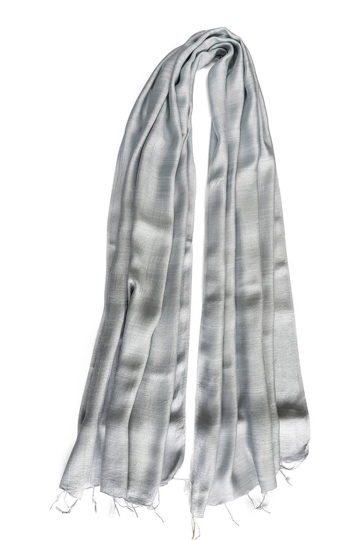 grey silk scarf PAVIA | elegant grey silk foulard