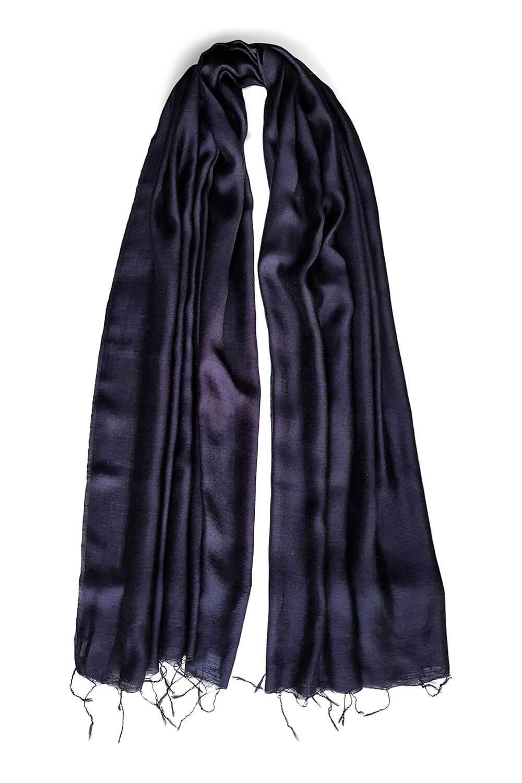 dark blue silk scarf PAVIA | elegant marine blue silk foulard