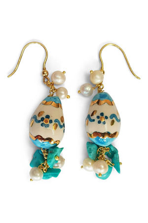 pendant earrings with painted eggs, turquoise and pearls