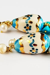 earrings with painted eggs, turquoise and pearls