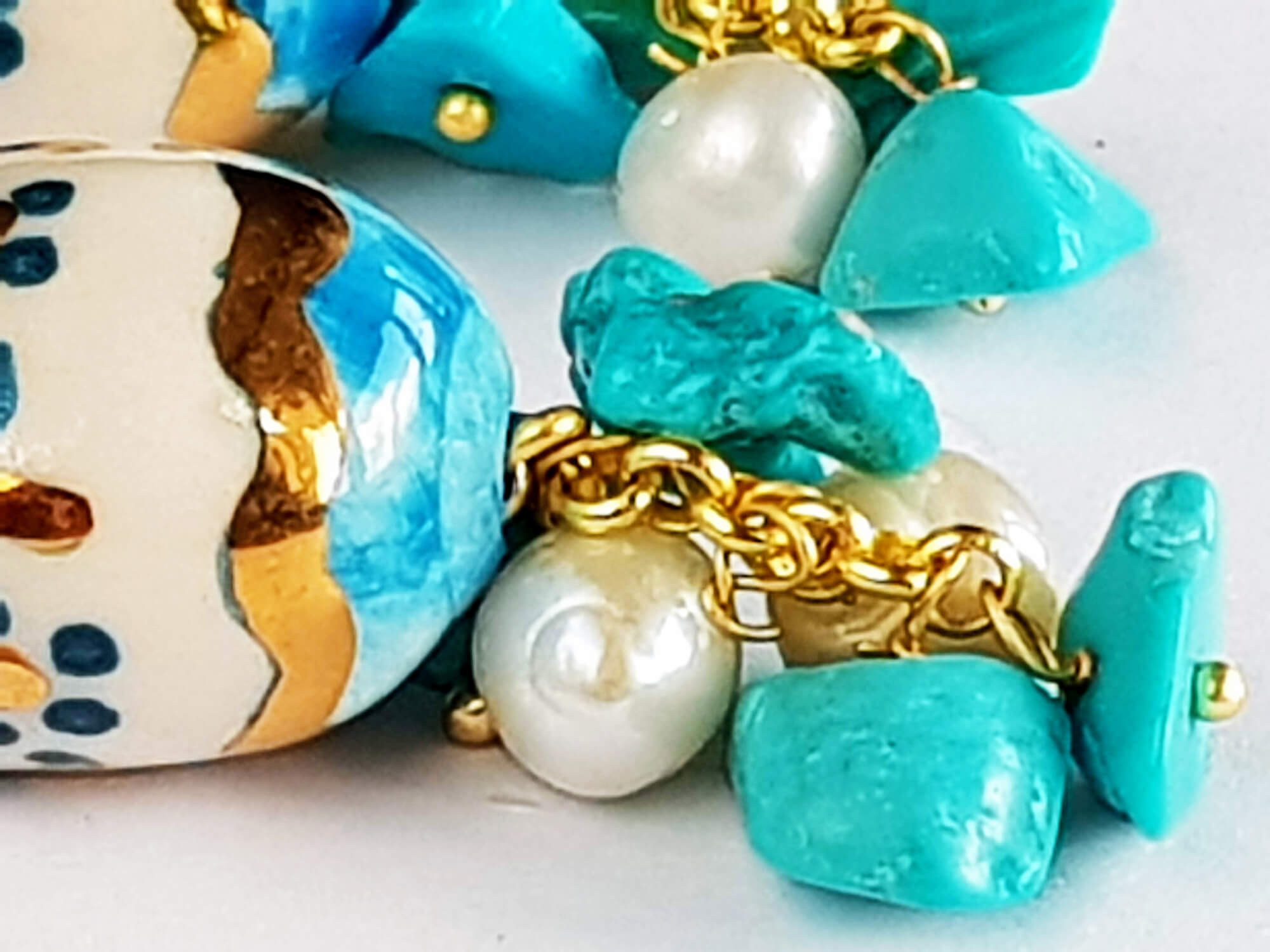 earrings in blue, ivory and gold | riviera style