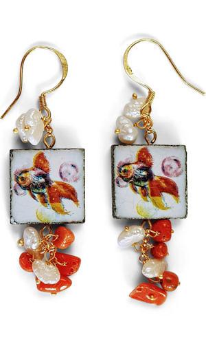 earrings with fish on tiles | ASITA SAHABI
