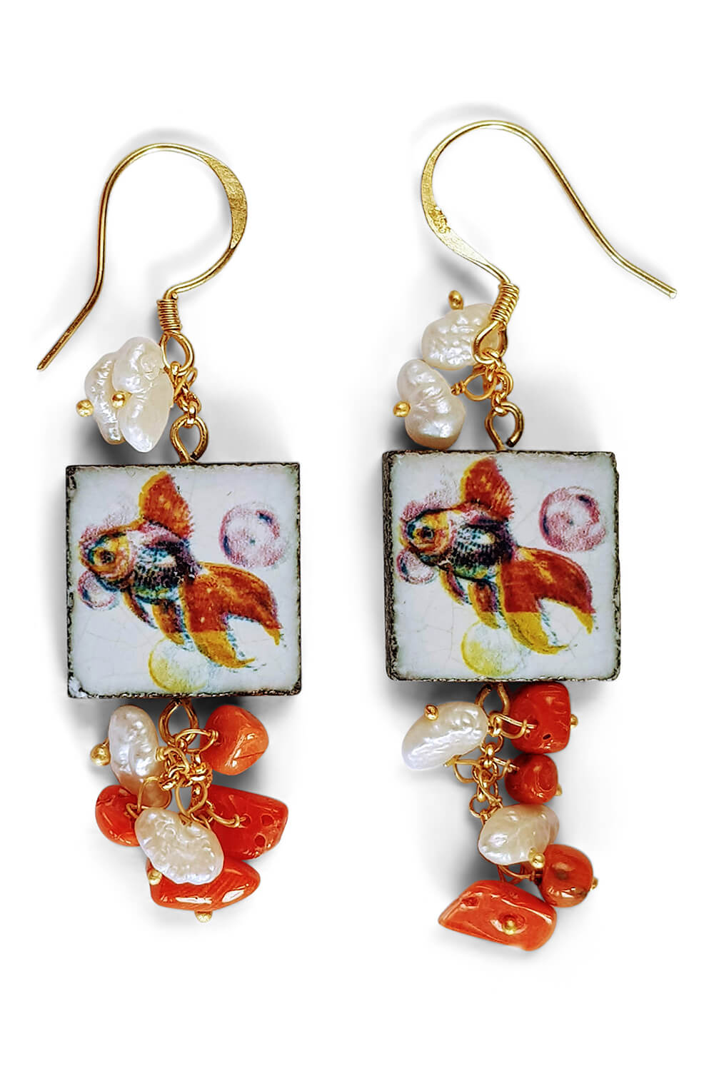golden earrings with painted tile, corals and pearls PROCIDA